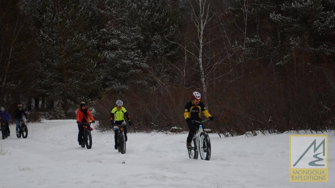Biking in winter forest