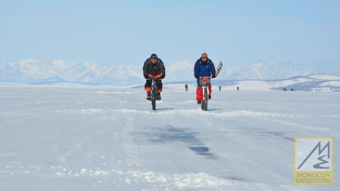 Ice biking in Mongolia